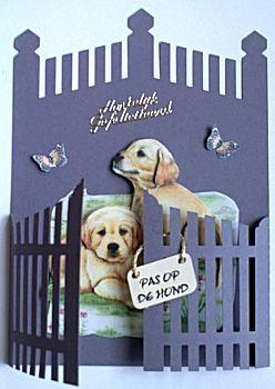 Hekjes vormkaart met honden in 3D