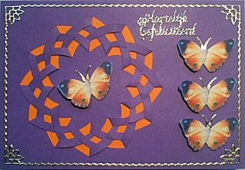 Incire wenskaart met vlinders