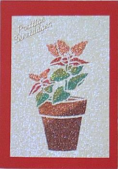 Kerstkaart gemaakt met zandstrooien