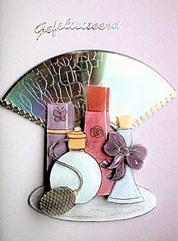 3D parfum flesjes op wenskaart voor een crackle CD
