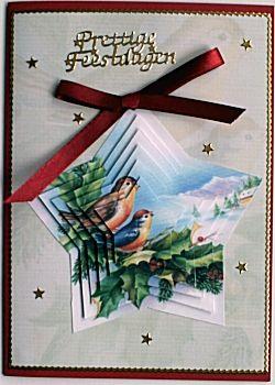 Kerstkaart met piramide gevormde afbeelding
